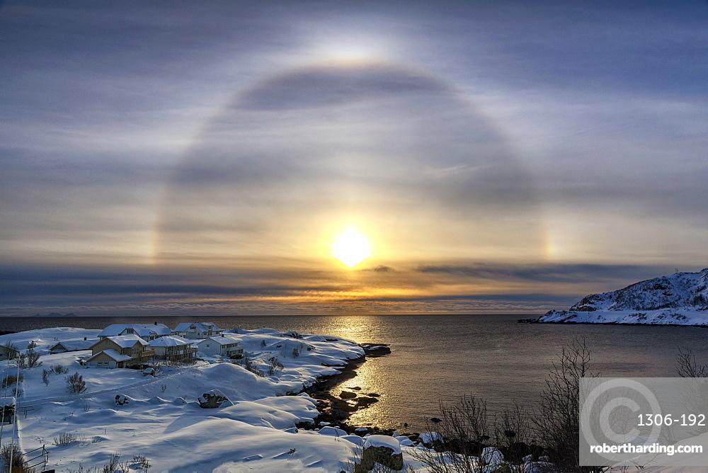 Sunbow at Reine, Lofoten, Arctic, Norway, Europe