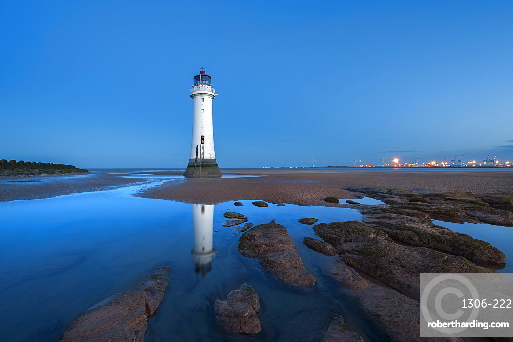 Perch Rock lighthouse at sunrise, New Brighton, Merseyside,The Wirral, England, United Kingdom, Europe