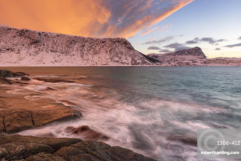 Dramatic sunset at Haukland Beach, Lofoten, Nordland, Arctic, Norway, Europe