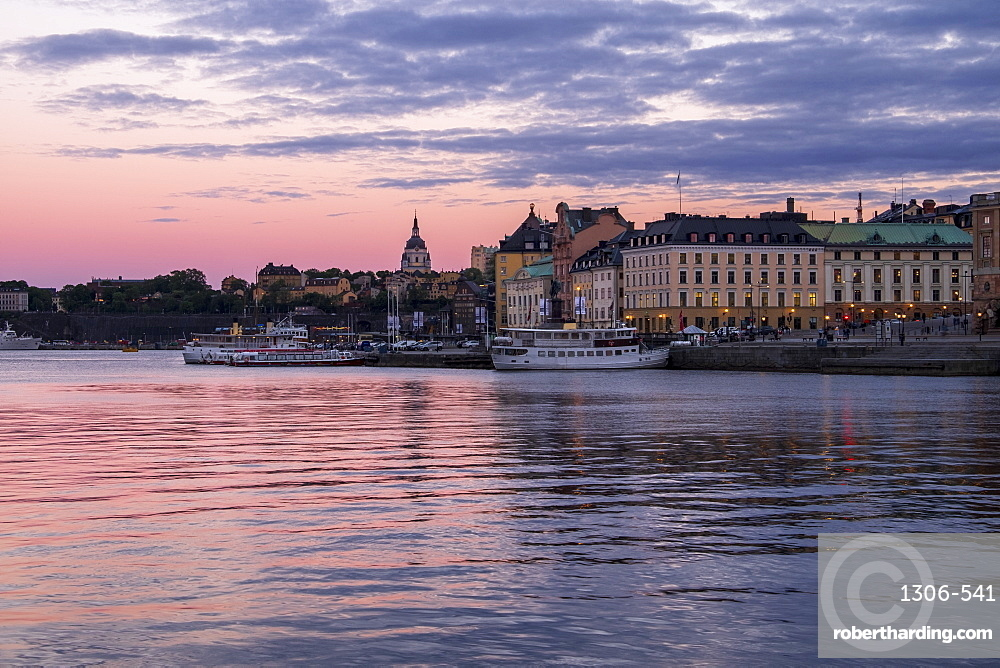 Stockholm during twilight blue hour, Stockholm, Sweden, Scandinavia, Europe