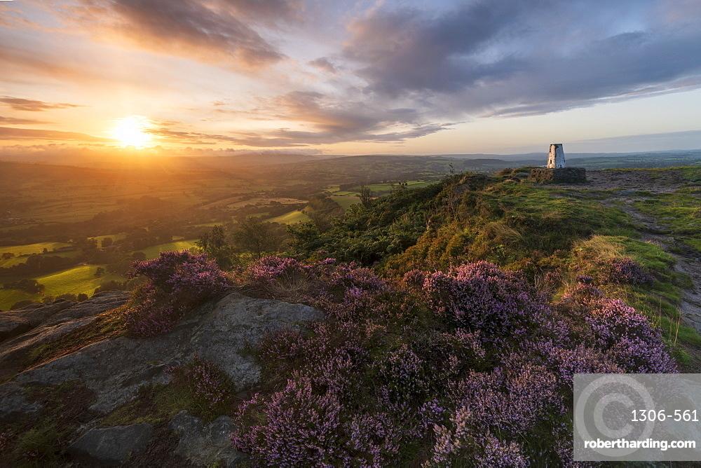 The survey point at Cloudside with amazing sunrise in summer, Congleton, Cheshire, England, United Kingdom, Europe