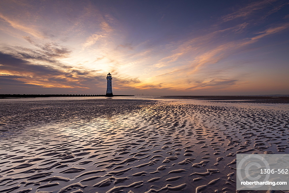 Perch Rock Lighthouse at sunset, New Brighton, Cheshire, England, United Kingdom, Europe