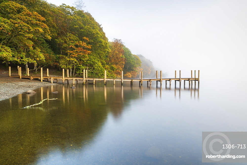 Brandlehow Jetty at Derwentwater, Lake District National Park, UNESCO World Heritage Site, Cumbria, England, United Kingdom, Europe