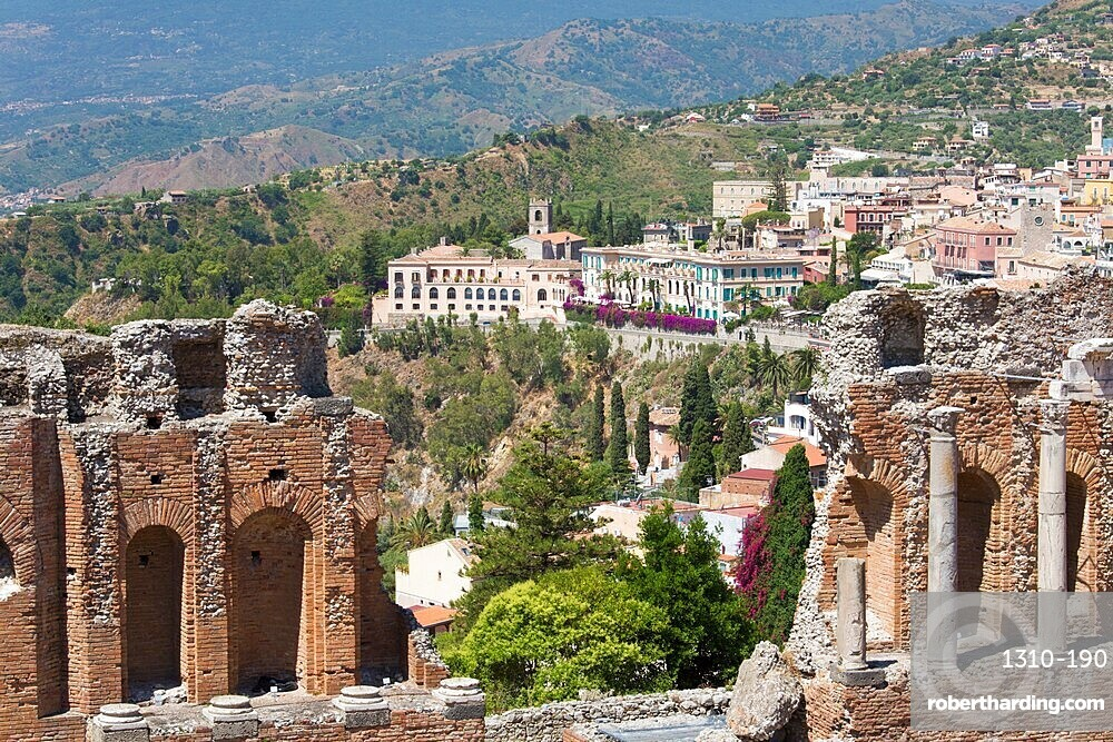 View over the town from the Greek Theatre, Taormina, Messina, Sicily, Italy