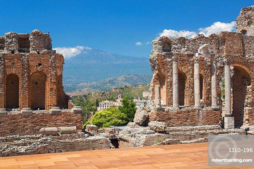 View to the former monastery of San Domenico from the Greek Theatre, Mount Etna in background, Taormina, Messina, Sicily, Italy