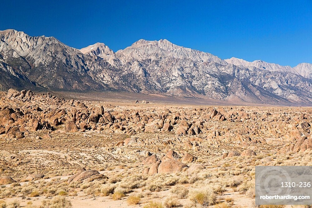 View across rocks to Mount Williamson and the Sierra Nevada, Alabama Hills National Scenic Area, Lone Pine, California, United States of America, North America