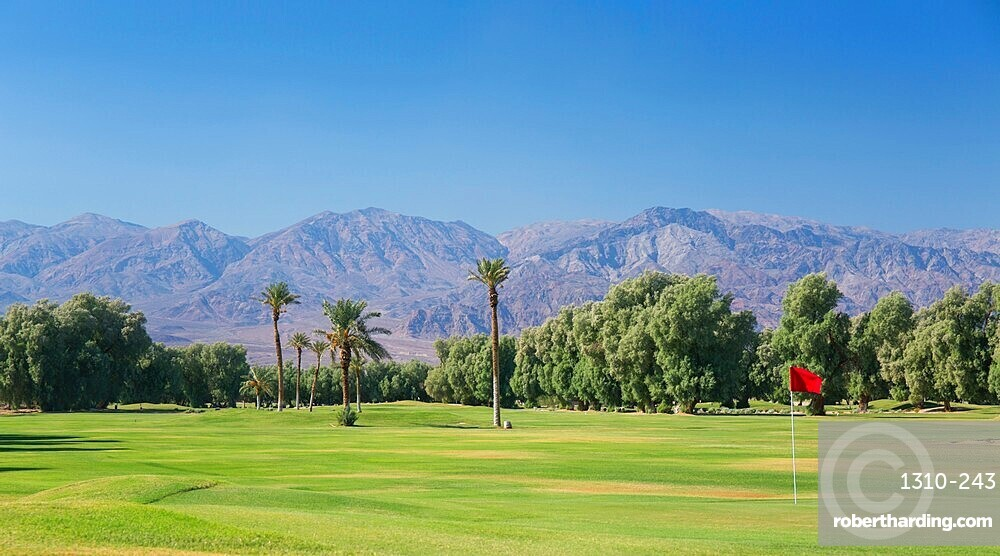 View to the Panamint Range from the world's lowest-lying golf course, Furnace Creek, Death Valley National Park, California, USA