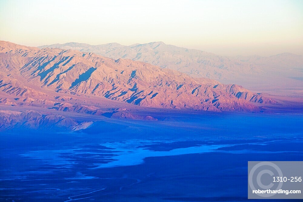 View over Badwater Basin to the Panamint Range, sunrise, Dante's View, Death Valley National Park, California, USA