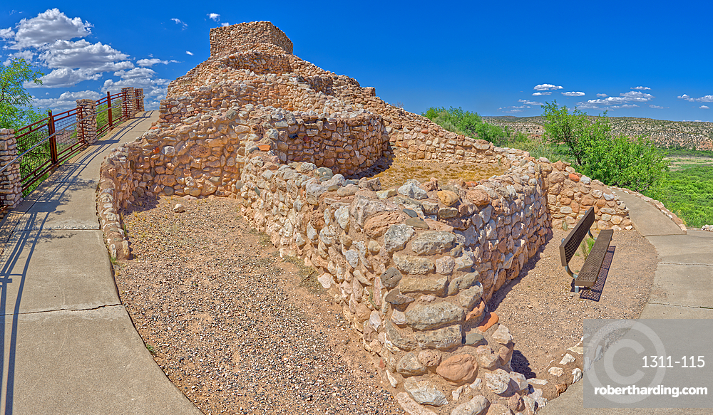 Panorama view of Tuzigoot Ruins from southeast corner, managed by the National Park Service, Arizona, United States of America, North America