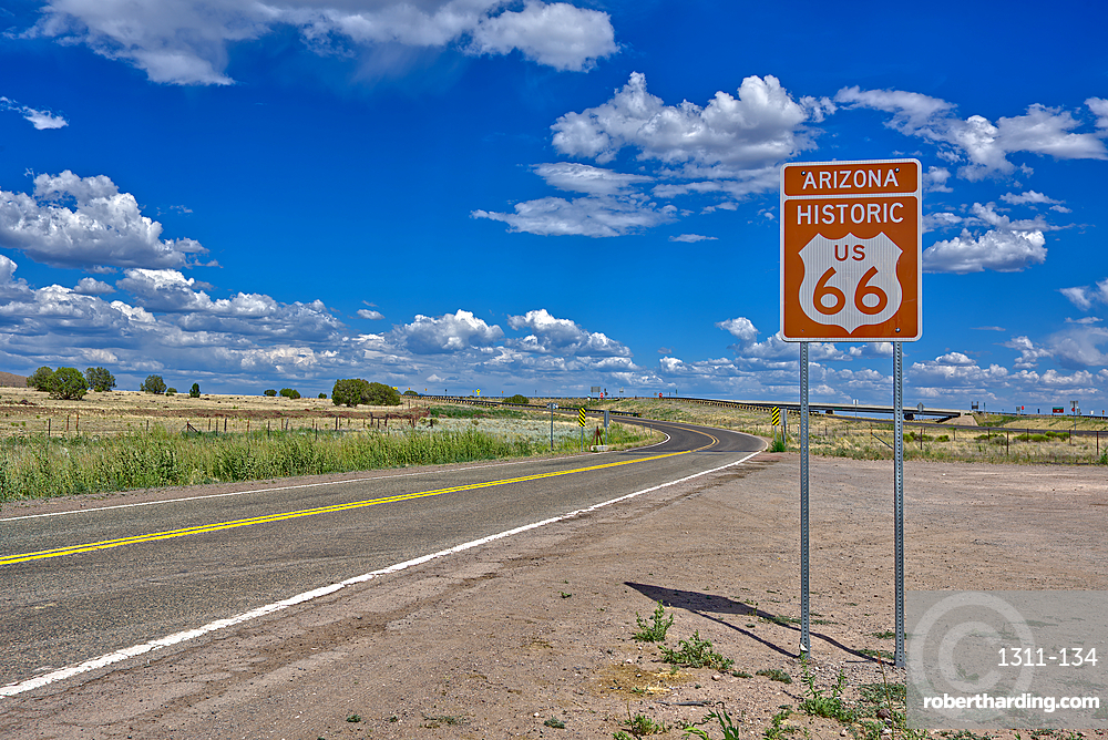 A road sign marking the Historic Route 66 just west of Ash Fork, Arizona, United States of America, North America