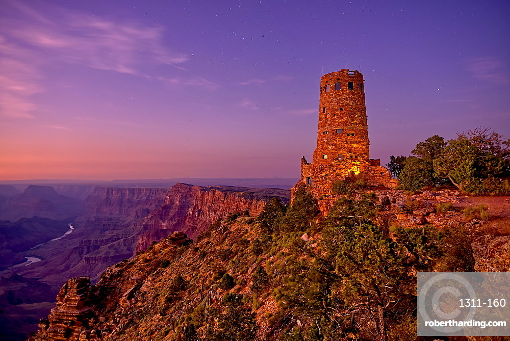 Watch Tower on Grand Canyon South Rim at twilight, Grand Canyon National Park, UNESCO World Heritage Site, Arizona, United States of America, North America