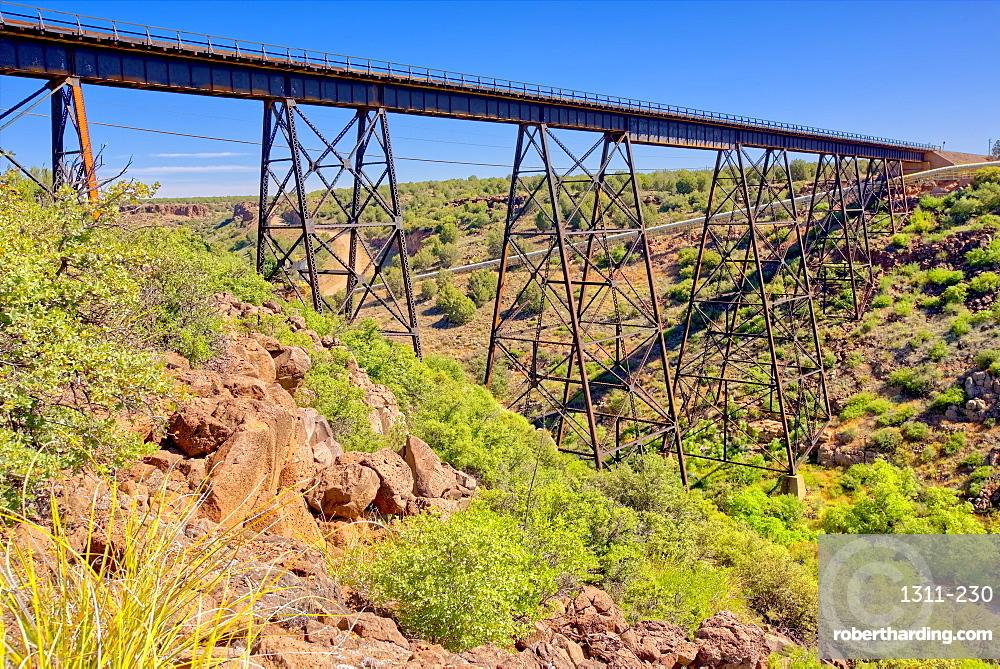 A historic railroad bridge spanning Hell Canyon in Drake Arizona.