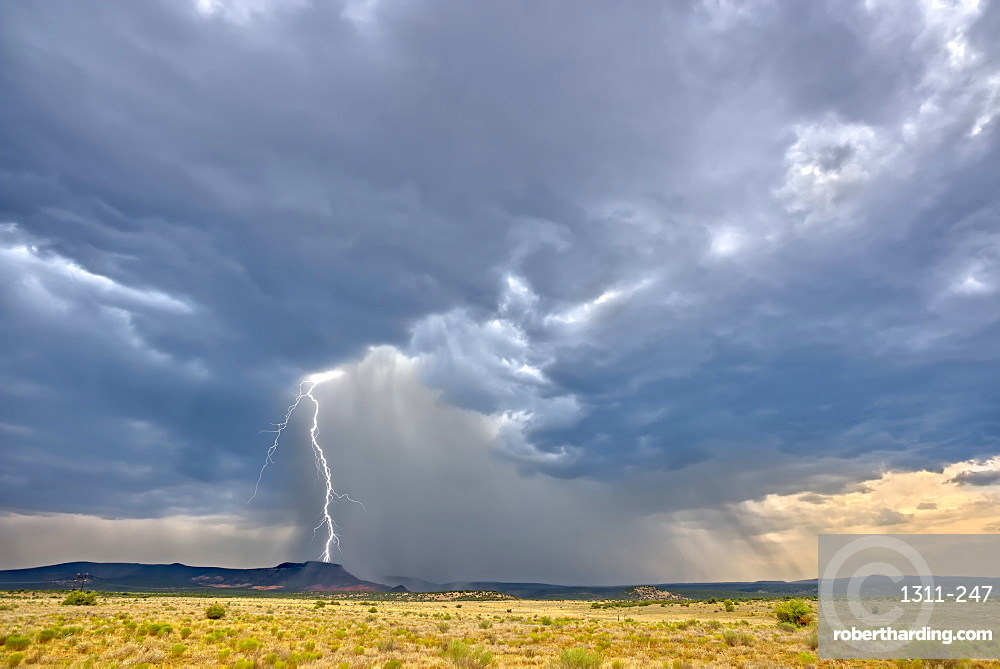 A massive monsoon storm moving over Matterhorn Mesa north of Drake, viewed from Forest Service Road 492, Arizona, United States of America, North America