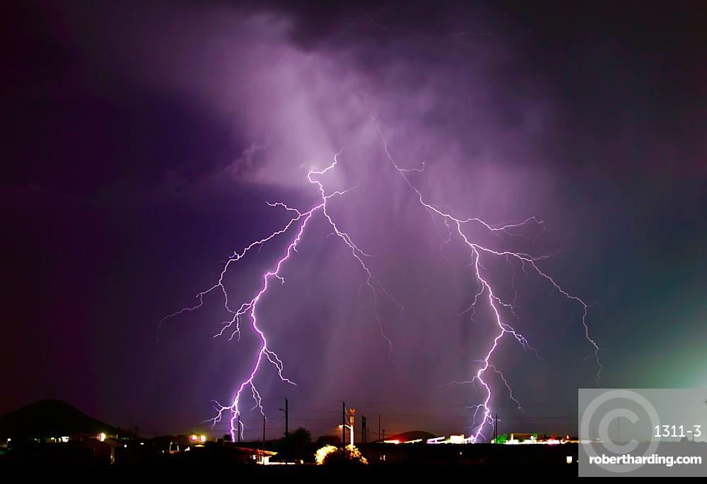 A late night lightning storm in Arlington during the 2012 Monsoon season, Arizona, United States of America, North America