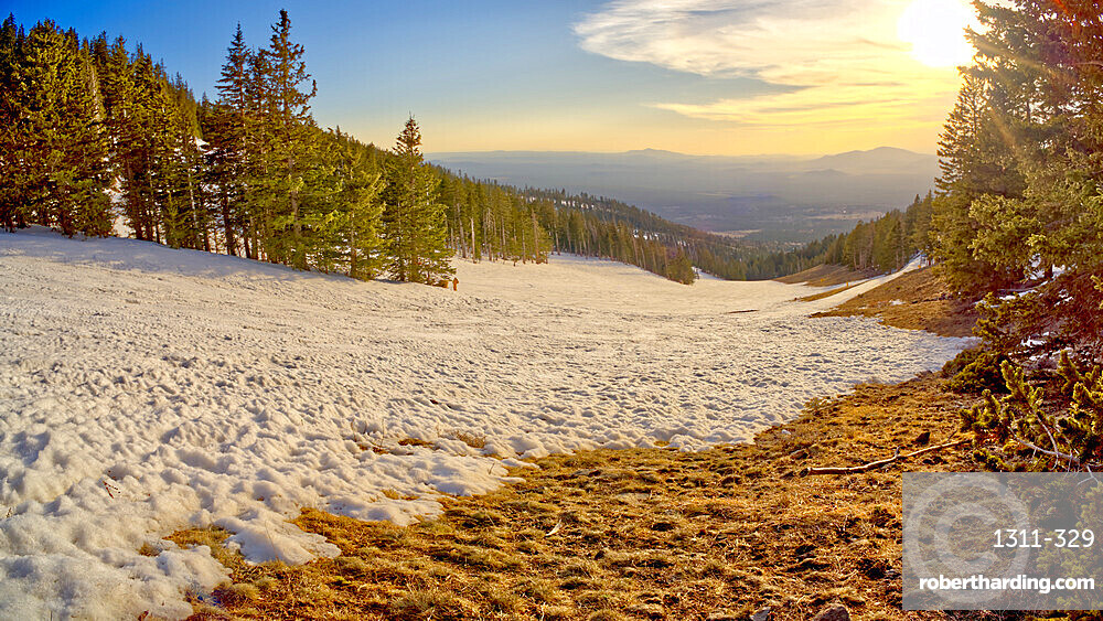 The slopes of Arizona Snow Bowl facing west close to sundown, Coconino National Forest near Flagstaff, Arizona, United States of America, North America