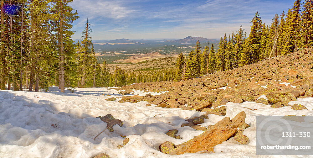 West panorama view from a lava field on the side of Humphrey's Peak near Flagstaff in the Coconino National Forest, Arizona, United States of America, North America