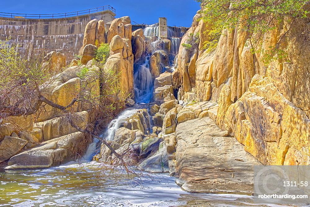 The Watson Dam Spillway, the small dam holds back Watson Lake in Prescott, Arizona, United States of America, North America