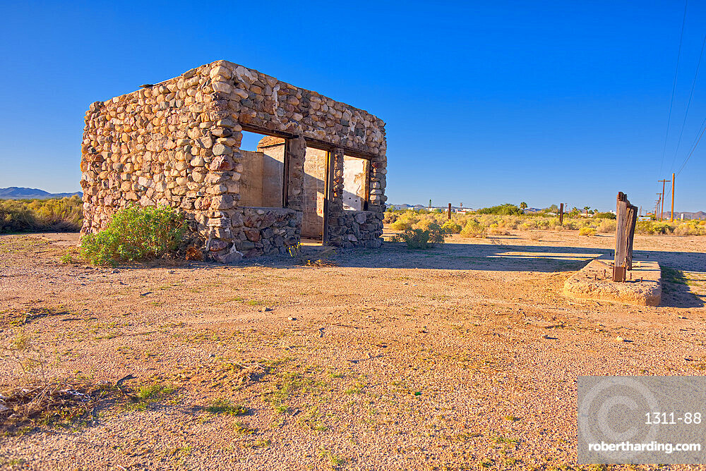 A ghostly stone building that is one of the last original structures of Old Salome AZ. It is regarded as historical landmark.