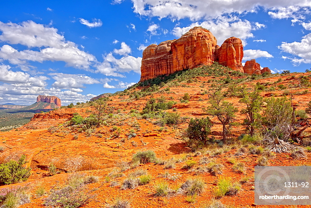 View of Cathedral Rock and Courthouse Butte in Sedona from the northwest slope of Cathedral Rock, Arizona, United States of America, North America