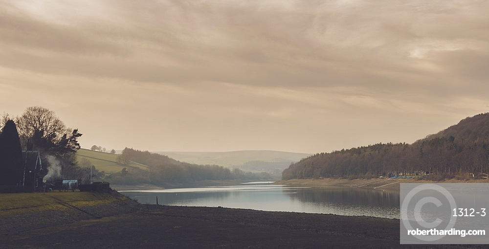 A calm evening at Damflask Reservoir in February, South Yorkshire, Yorkshire, England, United Kingdom, Europe
