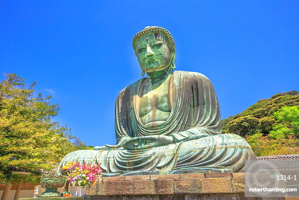Big Buddha (Daibutsu), one of the largest bronze statue of Buddha Vairocana, Kotoku-in Buddhist Temple in Kamakura, Japan, Asia