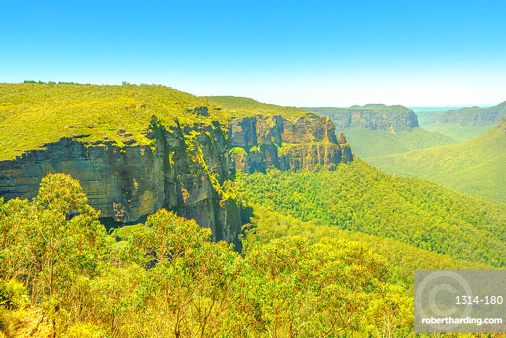 Aerial view of Govetts Leap Lookout, Blackheath area, Blue Mountains National Park near Sydney in New South Wales, Australia, Pacific