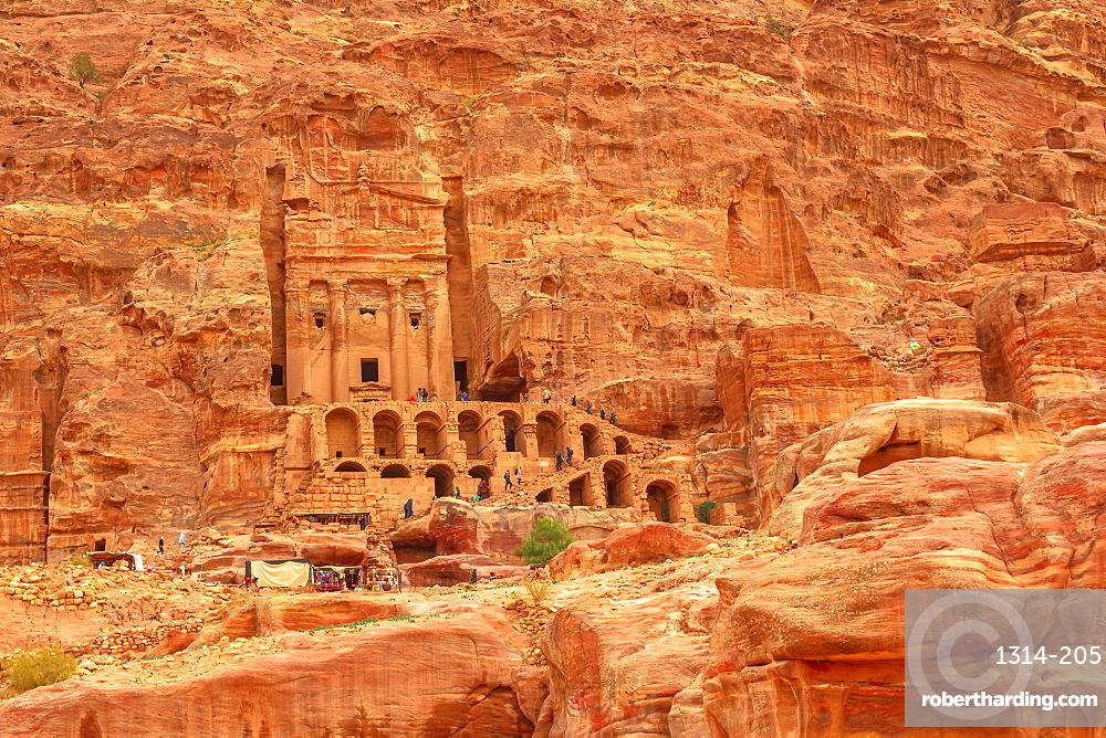 Petra in Jordan. Roman soldier's tomb Urn tomb, Court located in the side of the mountain known as al-Khubta, above Wadi Musa.