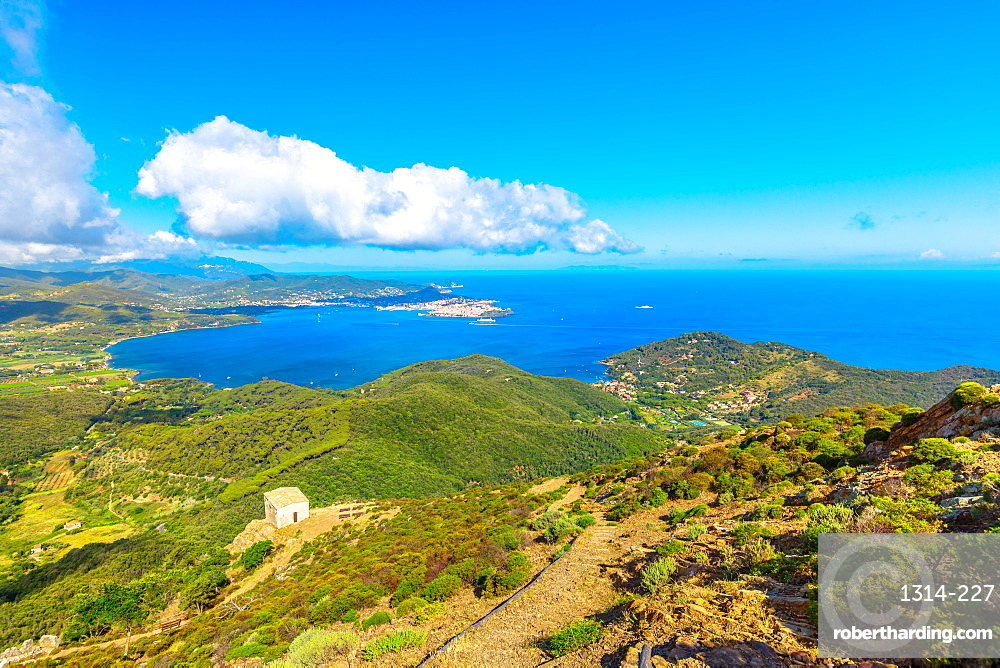 Panoramic view of Portoferraio Gulf, Elba Island, from top of Monte Volterraio on which the fortress dominates north part of island of Tuscany Archipelago, Italy. Church of San Leonardo on background.