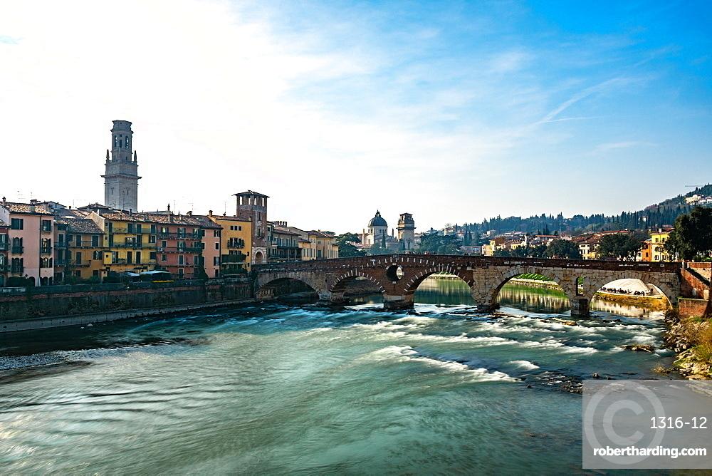 Panoramic view of Ponte Pietra bridge on Adige River, Verona, Veneto region, Italy, Europe
