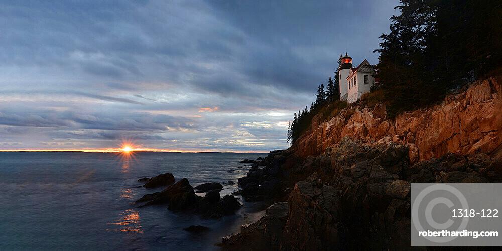 Bass Harbor Headlight at sunset, Maine, New England, United States of America, North America