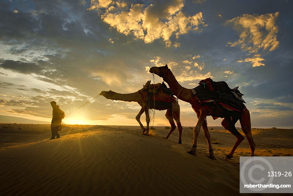 A camel trader in the famous Sam Sand dunes in Jaisalmer region of Rajasthan state in India