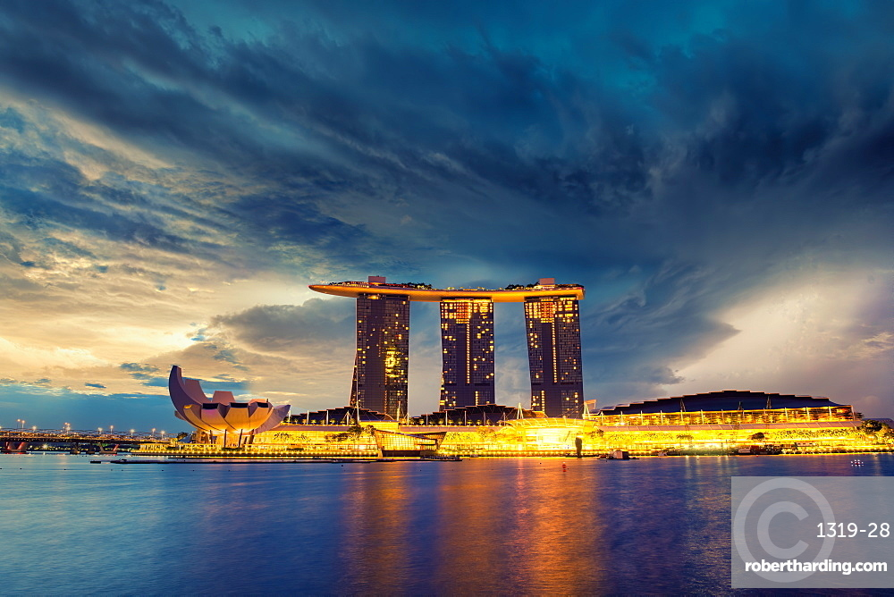 A dramatic view of Singapore's Iconic Marina Bay Sands Hotel, Singapore, Southeast Asia, Asia