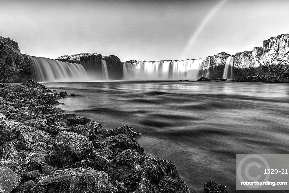 Godafass Waterfall long exposure, near Akureyri, Iceland, Polar Regions