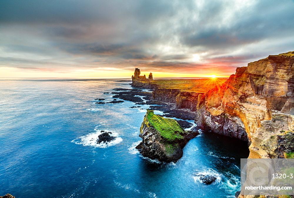 Londrangar Cliffs at sunset, Iceland