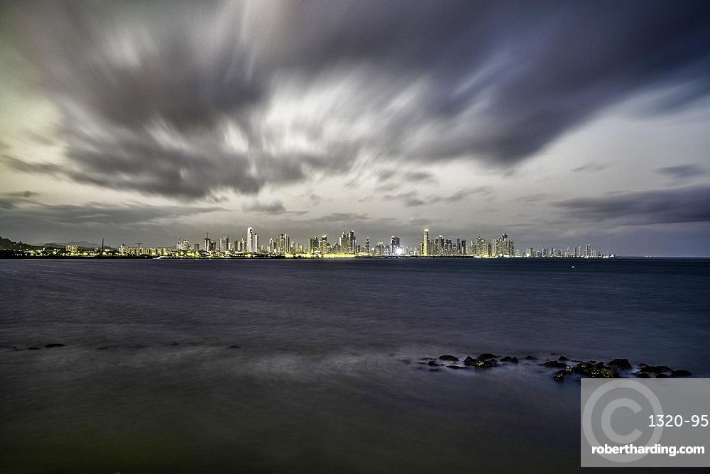 Long exposure at dusk overlooking the Bay of Panama in Panama City, Panama, Central America