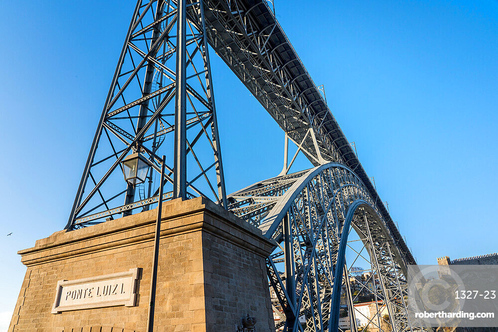 Dom Luis I Bridge looking from below with nameplate, UNESCO World Heritage Site, Porto, Portugal, Europe