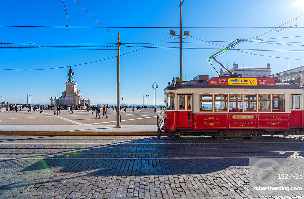 Traditional red Tram in Commerce Square, Lisbon, Portugal, Europe