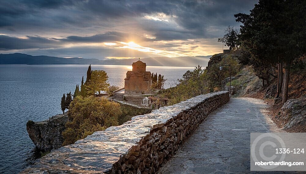 Panoramic at Saint John at Kaneo, an Orthodox church situated on the cliff overlooking Lake Ohrid, UNESCO World Heritage Site, Ohrid, North Macedonia, Europe