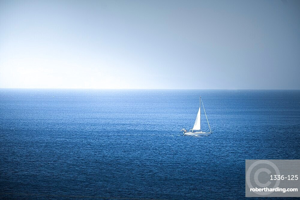 Lonely sail boat in the sea, Antiparos Island, Cyclades, Greek Islands, Greece, Europe