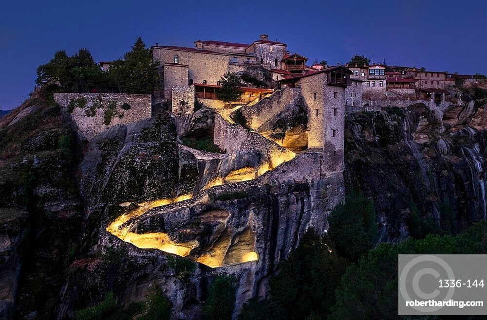 Megalo Meteoro Monastery in the blue hour before sunrise, Meteora, UNESCO World Heritage Site, Thessaly, Greece, Europe