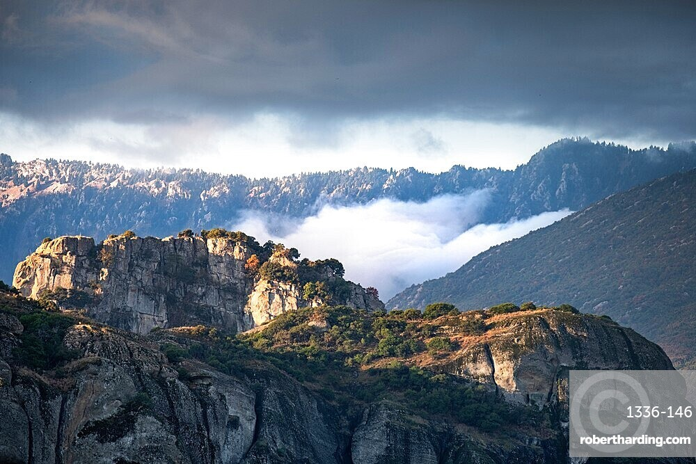 Low clouds on the Meteoras, Thessaly, Greece, Europe
