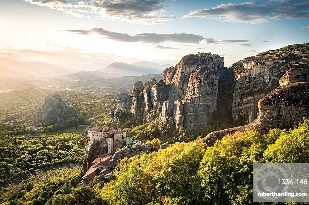 Sunset in Meteora, Thessaly, Greece, Europe