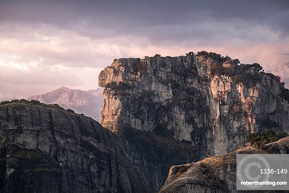 Pink sunrise in Meteora, Thessaly, Greece, Europe