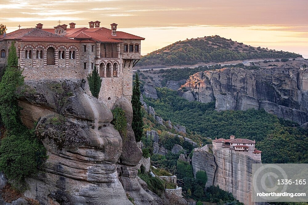 Varlaam and Roussanou (St. Barbara) Monasteries at sunrise, Meteora, UNESCO World Heritage Site, Thessaly, Greece, Europe