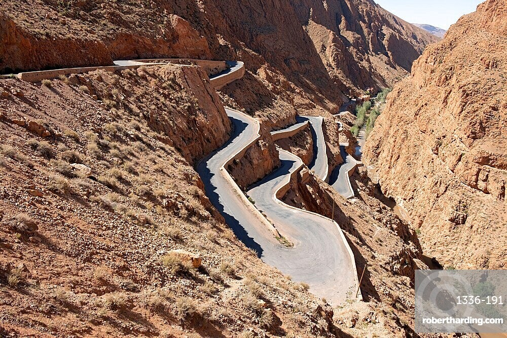 The winding mountain road in Dades Gorge, Morocco, North Africa, Africa
