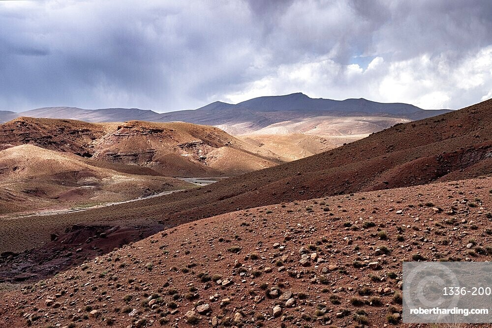 Rocky panorama of the high Atlas mountains in Morocco with a cloudy sky, Morocco, North Africa, Africa
