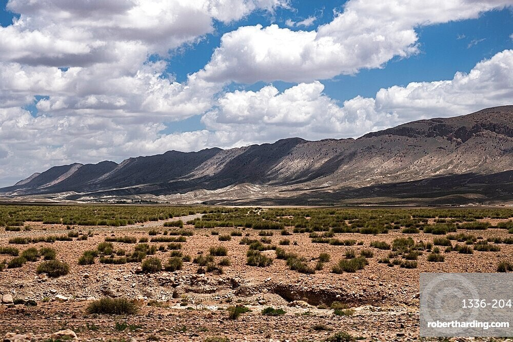 Landscape of Morocco with mountains in the background with white clouds in the sky, Morocco, North Africa, Africa
