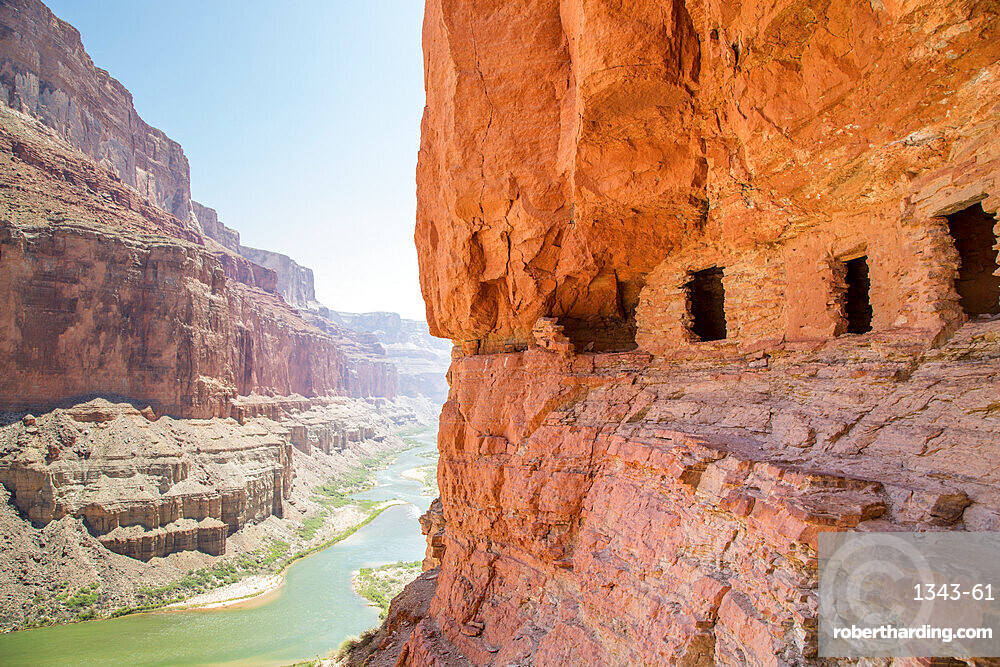 Ancient Nankoweap granary high above the Colorado River through the Grand Canyon, Grand Canyon National Park, UNESCO World Heritage Site, Arizona, United States of America, North America