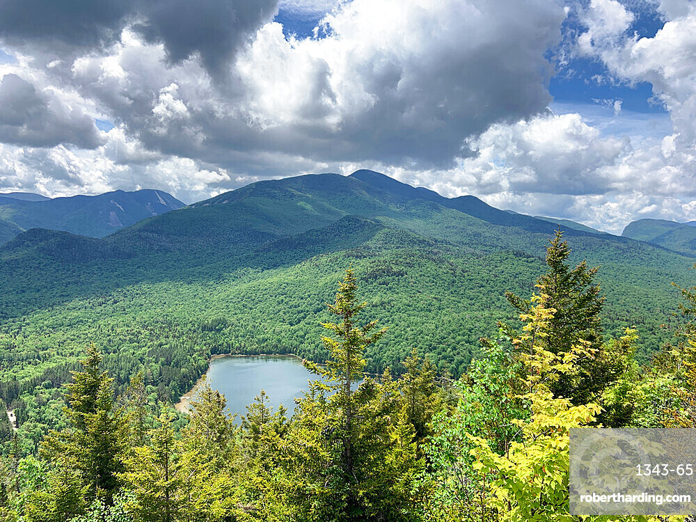 Clouds over High Peaks of the Adirondack Mountains and Heart Lake near Lake Placid, New York State, United States of America, North America