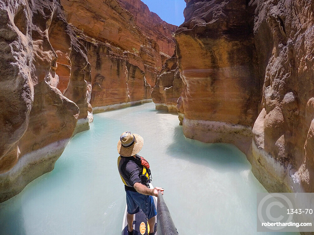 Photographer Skip Brown on a stand up paddle board at the mouth of Havasu Creek in the Grand Canyon, Arizona, United States of America, North America